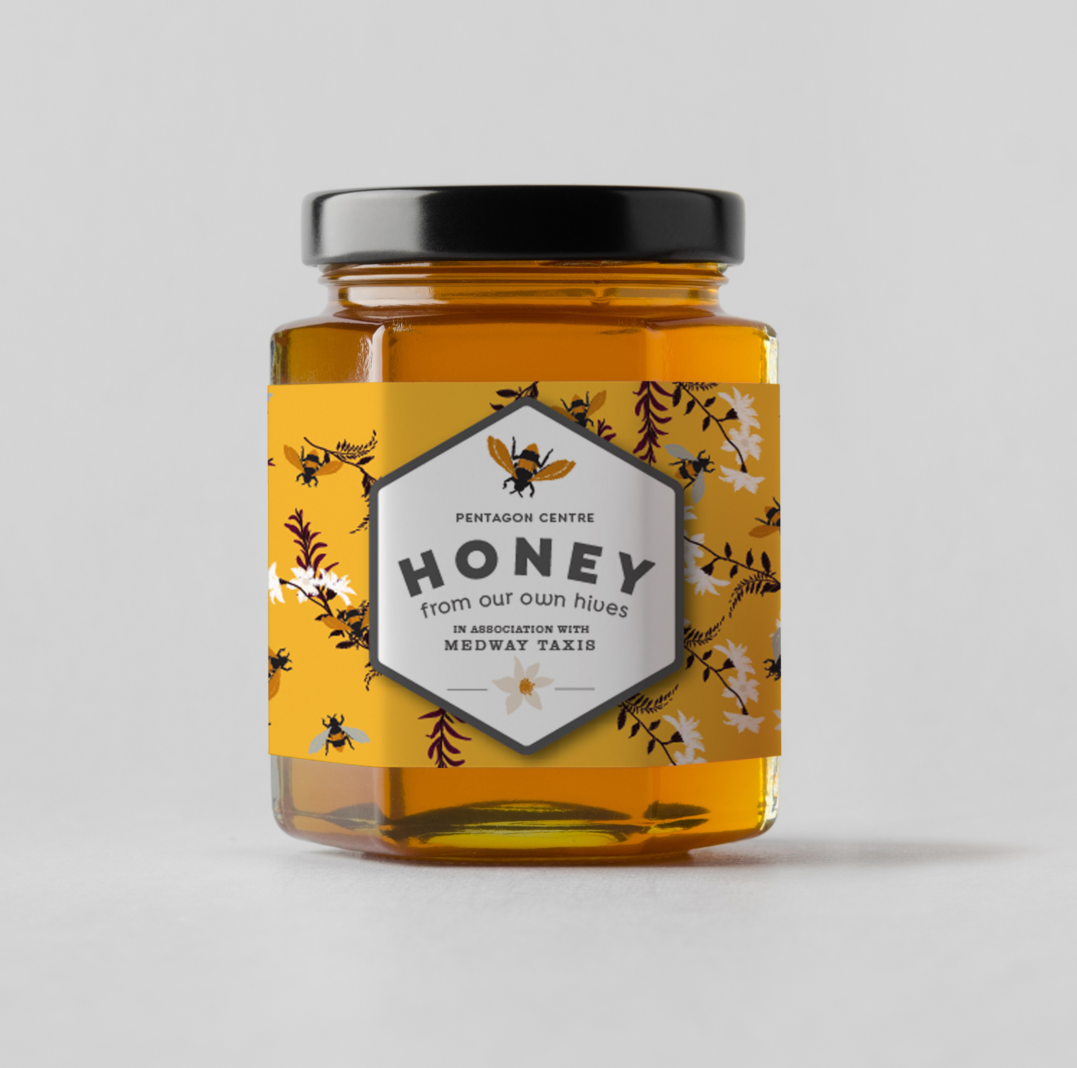 Part of series of honey jar creatives for an enterprise producing honey from hives situated at the top of a shopping centre.