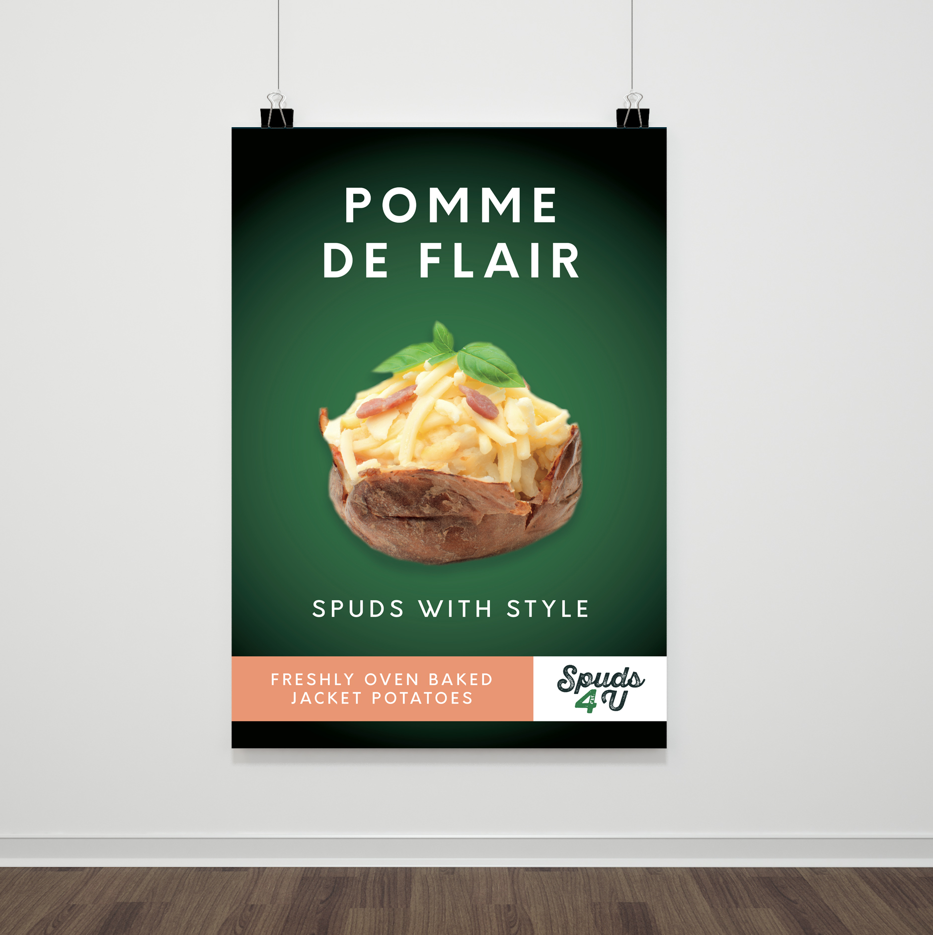 Baked potato outlet opening poster utilising a play on the french name for potato
