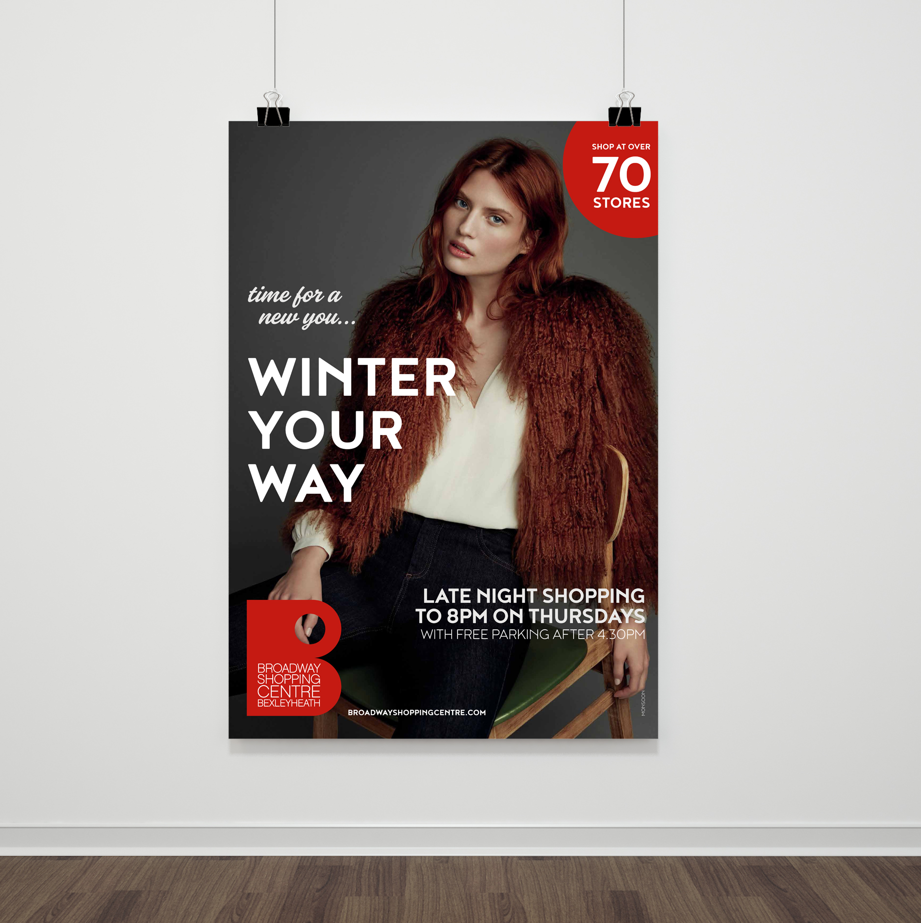 Poster promoting a shopping centre fashion offer